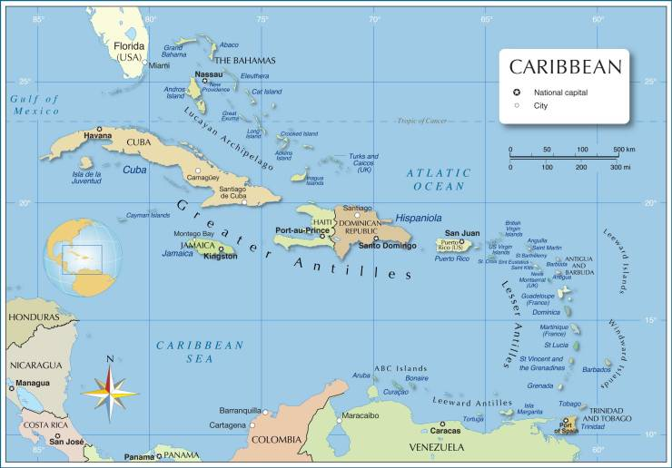 Caribbean-political-map