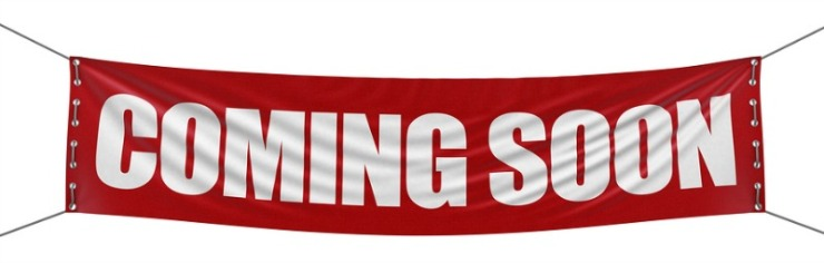 Large Coming soon banner with fabric surface texture. Image with clipping path